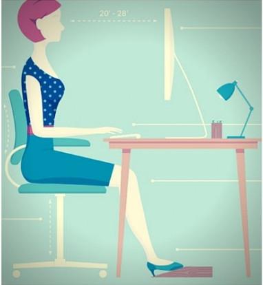Postura correcta frente a una computadora